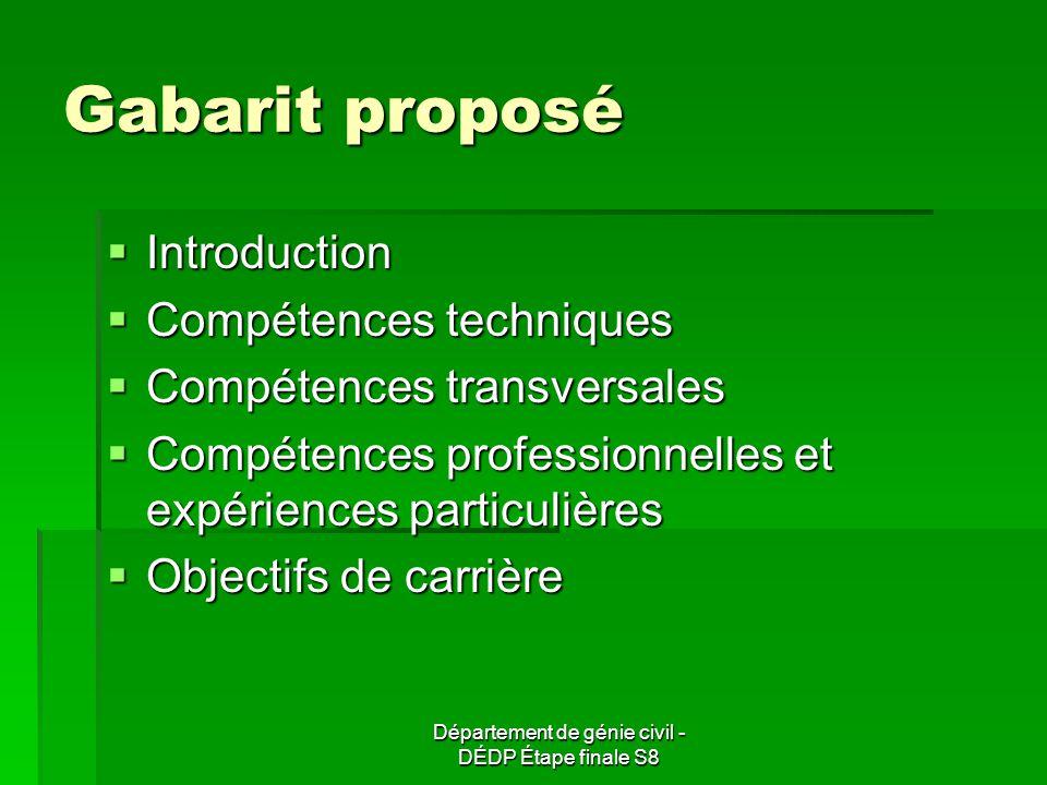 Département de génie civil - DÉDP Étape finale S8 Gabarit proposé Introduction Introduction Compétences techniques Compétences techniques Compétences