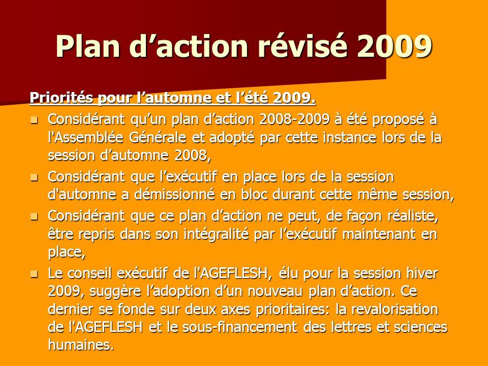 Plan daction révisé 2009 Priorités pour lautomne et lété 2009.