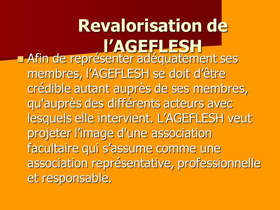 Revalorisation de lAGEFLESH Afin de représenter adéquatement ses membres, lAGEFLESH se doit dêtre crédible autant auprès de ses membres, qu auprès des différents acteurs avec lesquels elle intervient.