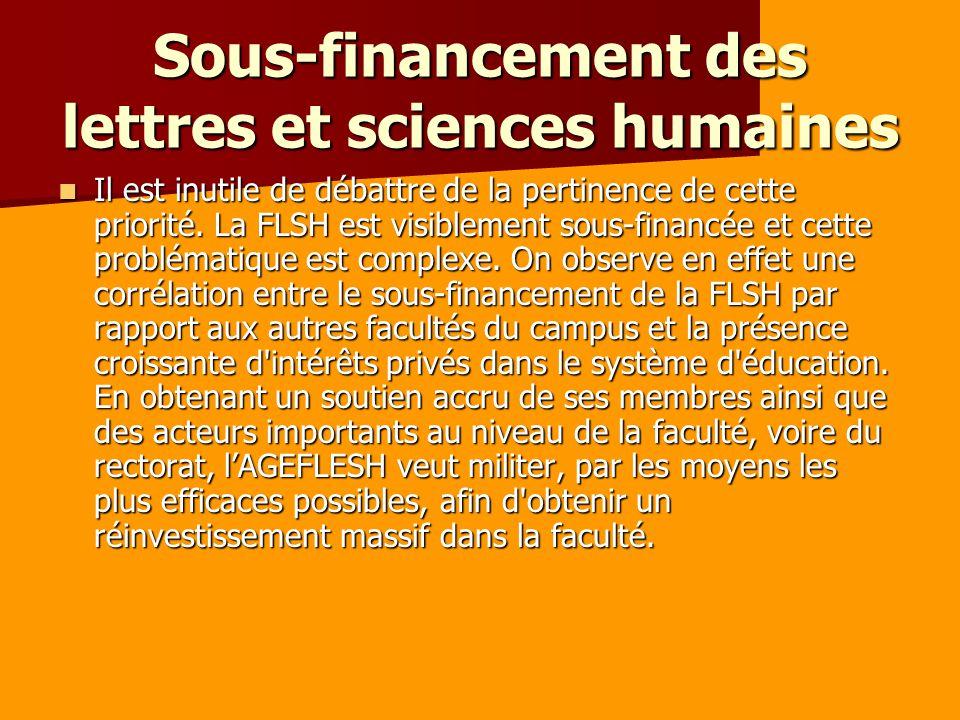 Sous-financement des lettres et sciences humaines Il est inutile de débattre de la pertinence de cette priorité.