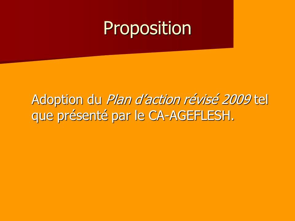 Proposition Adoption du Plan daction révisé 2009 tel que présenté par le CA-AGEFLESH.