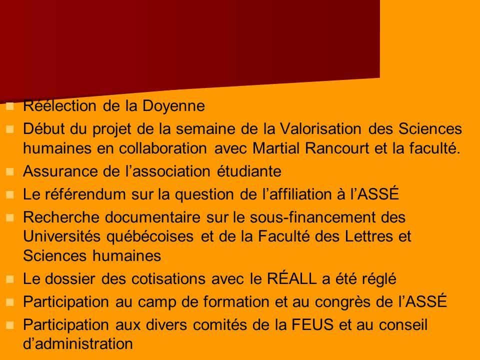 Réélection de la Doyenne Début du projet de la semaine de la Valorisation des Sciences humaines en collaboration avec Martial Rancourt et la faculté.