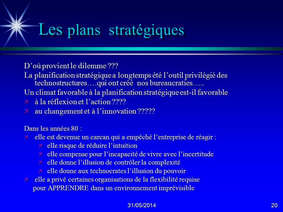 31/05/201420 Les plans stratégiques Doù provient le dilemme ??.