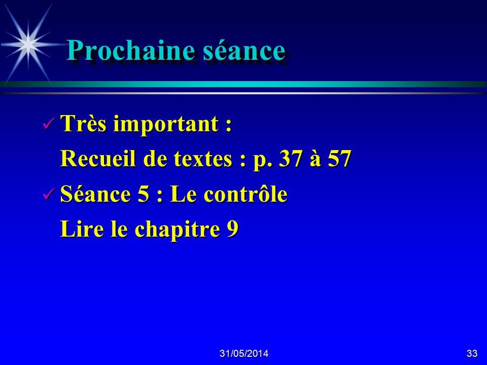 31/05/201433 Prochaine séance Très important : Très important : Recueil de textes : p.