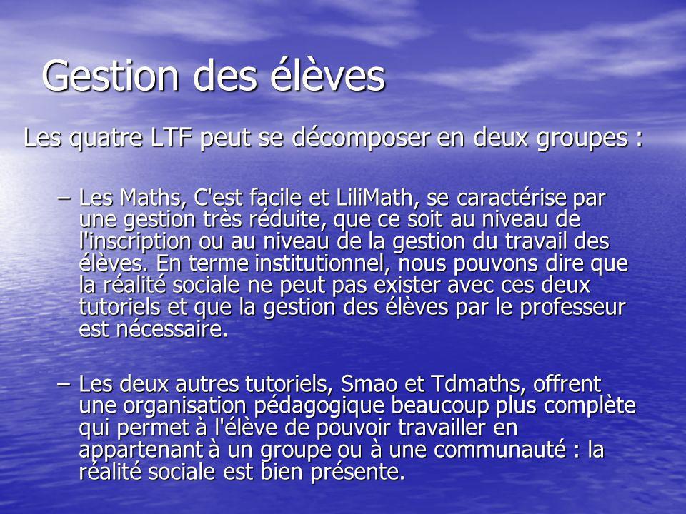 Les quatre LTF peut se décomposer en deux groupes : –Les Maths, C'est facile et LiliMath, se caractérise par une gestion très réduite, que ce soit au