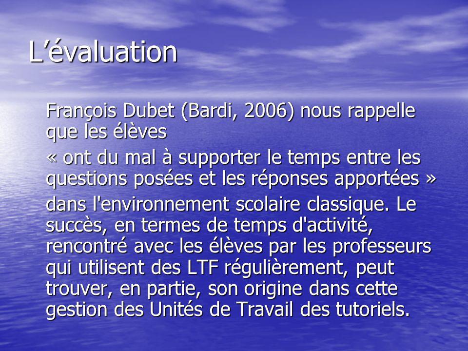 Lévaluation François Dubet (Bardi, 2006) nous rappelle que les élèves « ont du mal à supporter le temps entre les questions posées et les réponses app
