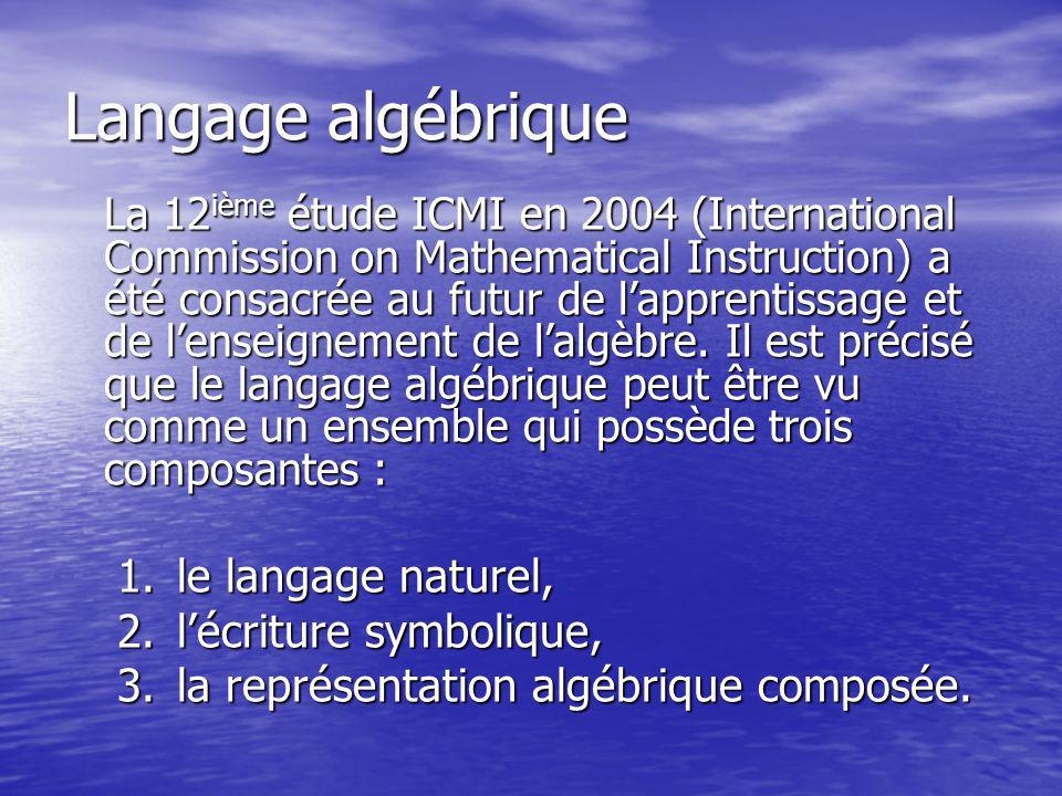 Langage algébrique La 12 ième étude ICMI en 2004 (International Commission on Mathematical Instruction) a été consacrée au futur de lapprentissage et
