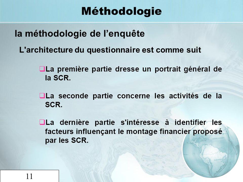 11 Méthodologie la méthodologie de lenquête L'architecture du questionnaire est comme suit La première partie dresse un portrait général de la SCR. La