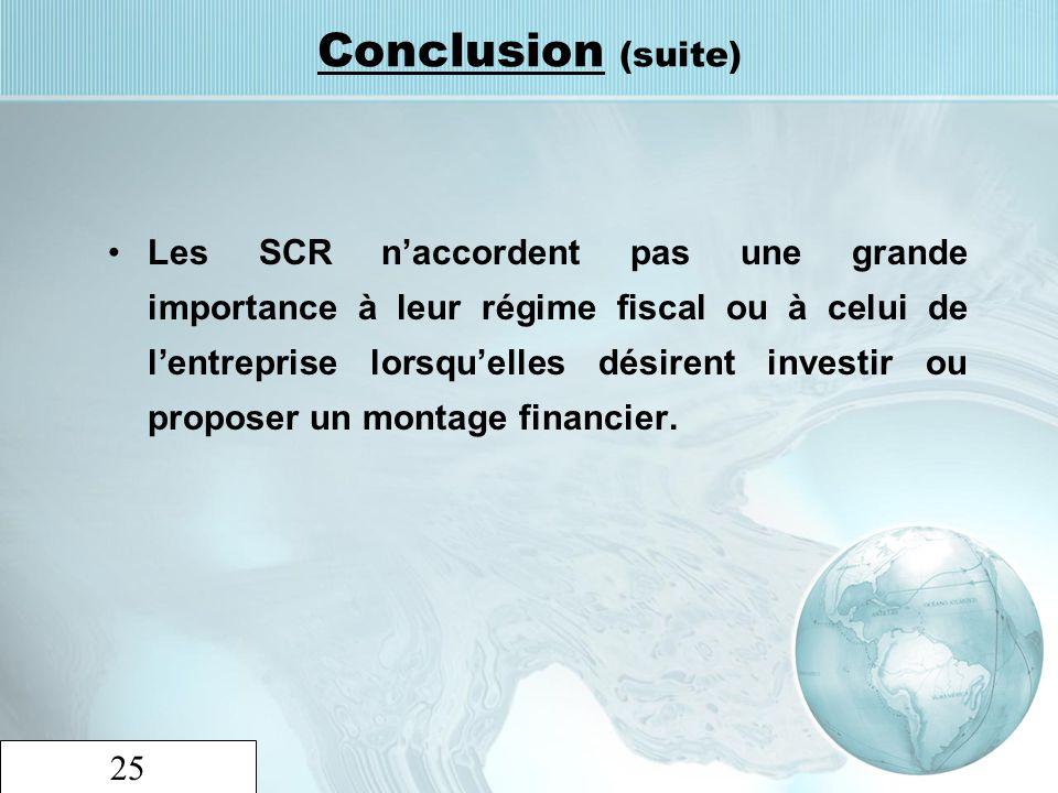 25 Conclusion (suite) Les SCR naccordent pas une grande importance à leur régime fiscal ou à celui de lentreprise lorsquelles désirent investir ou pro