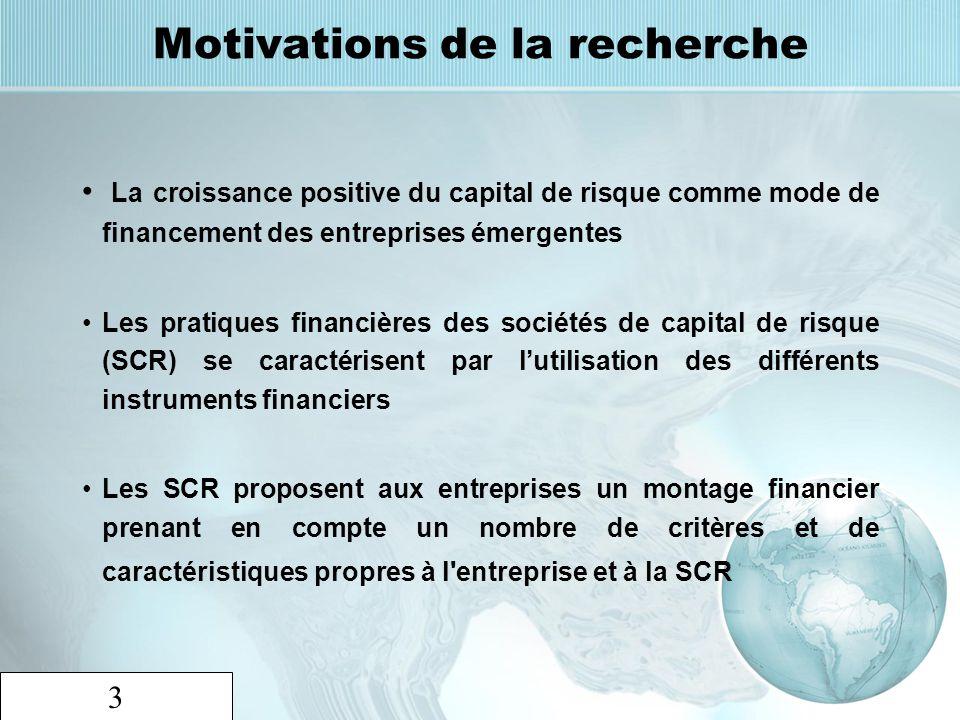 3 Motivations de la recherche La croissance positive du capital de risque comme mode de financement des entreprises émergentes Les pratiques financièr