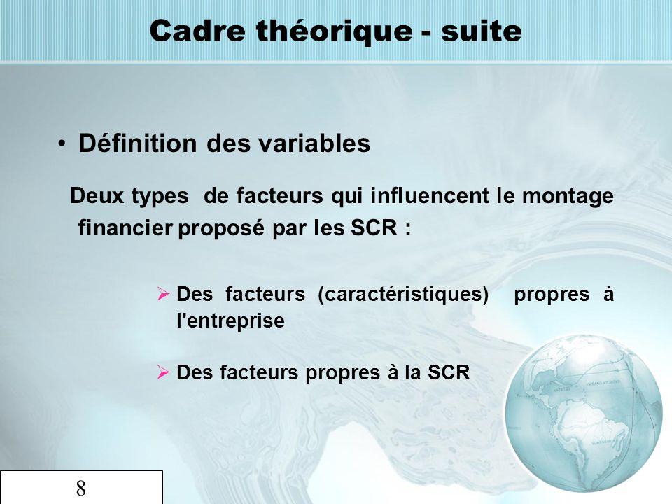 8 Cadre théorique - suite Définition des variables Deux types de facteurs qui influencent le montage financier proposé par les SCR : Des facteurs (car
