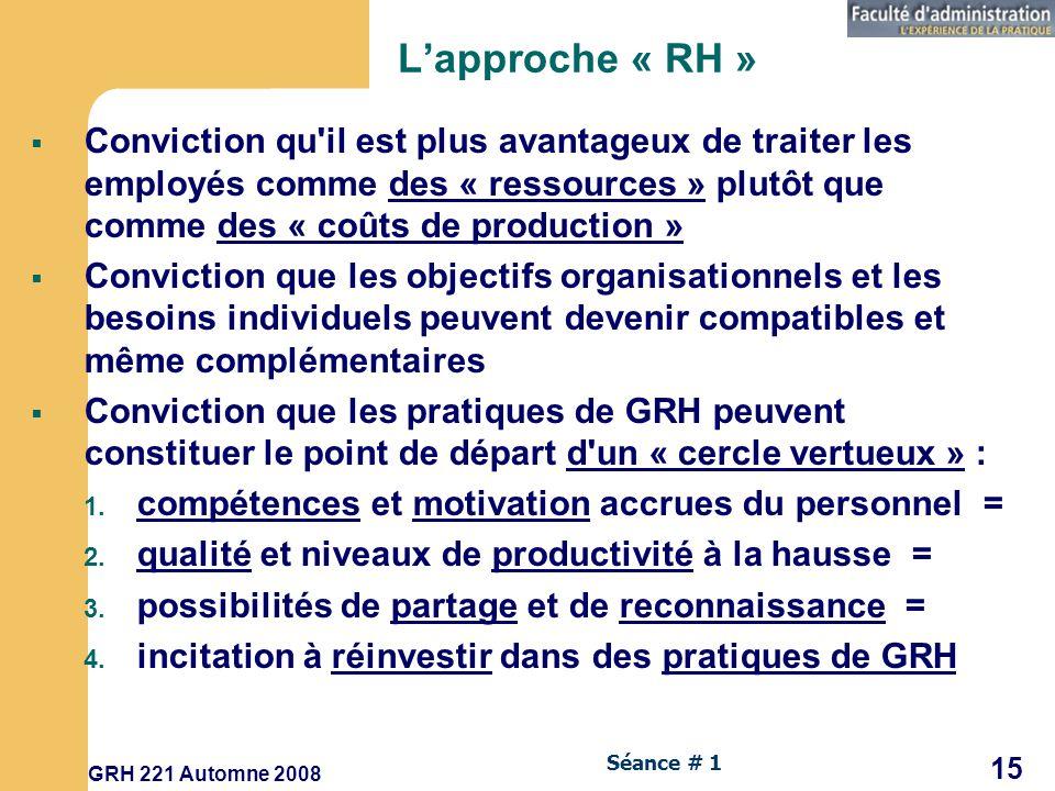 GRH 221 Automne 2008 15 Séance # 1 Lapproche « RH » Conviction qu il est plus avantageux de traiter les employés comme des « ressources » plutôt que comme des « coûts de production » Conviction que les objectifs organisationnels et les besoins individuels peuvent devenir compatibles et même complémentaires Conviction que les pratiques de GRH peuvent constituer le point de départ d un « cercle vertueux » : 1.