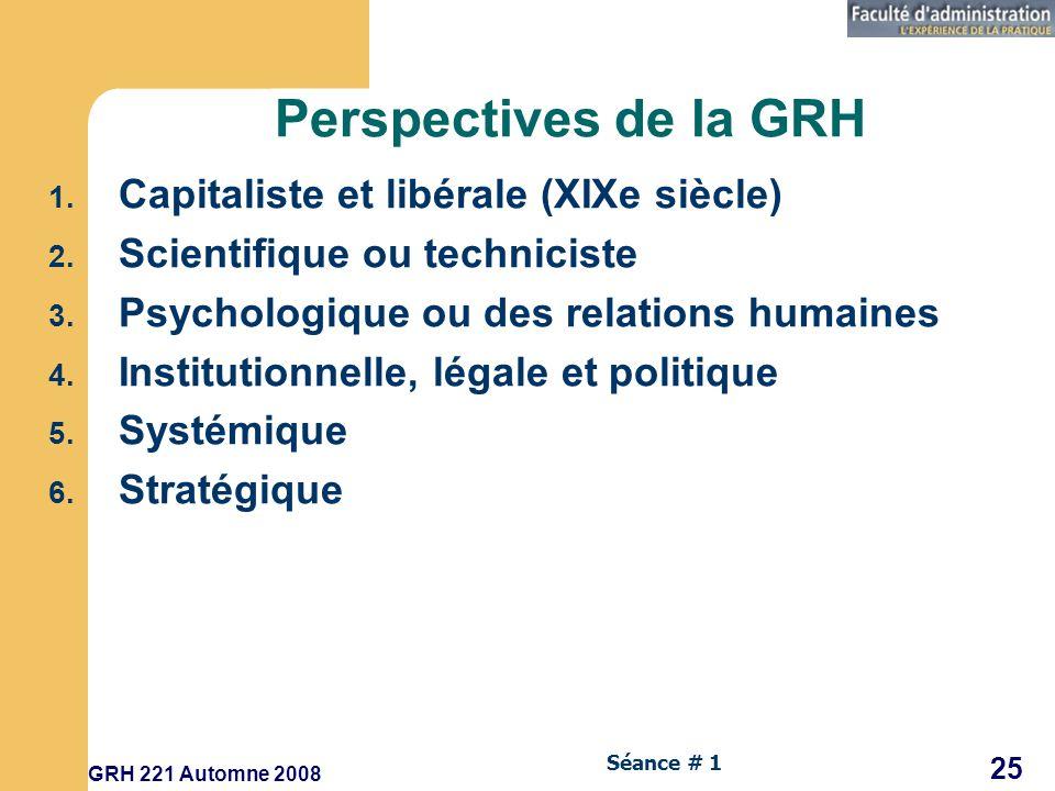 GRH 221 Automne 2008 25 Séance # 1 Perspectives de la GRH 1.