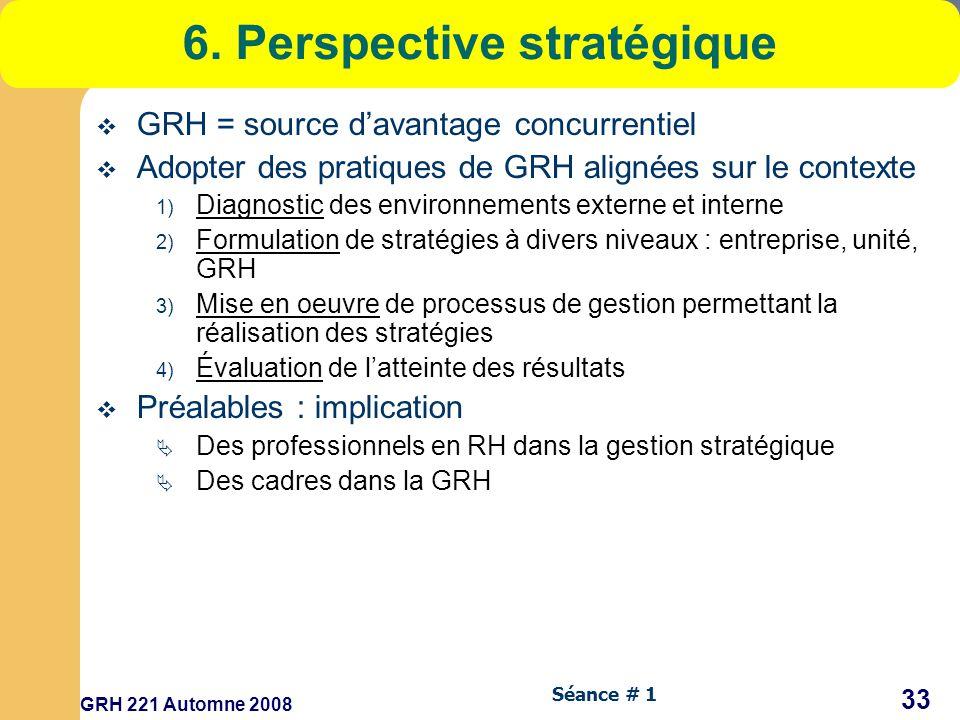 GRH 221 Automne 2008 33 Séance # 1 6.