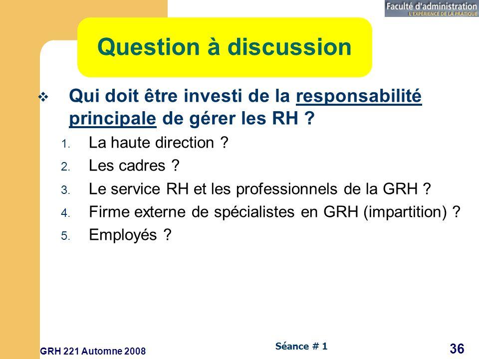 GRH 221 Automne 2008 36 Séance # 1 Question à discussion Qui doit être investi de la responsabilité principale de gérer les RH .
