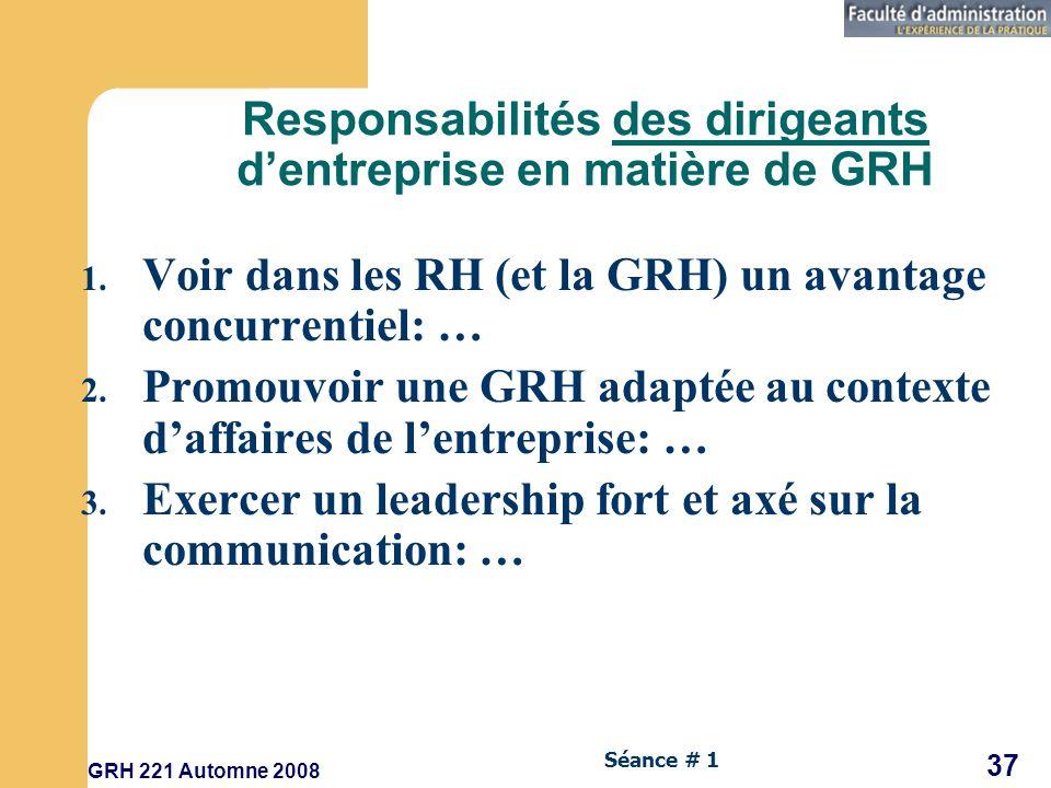 GRH 221 Automne 2008 37 Séance # 1 Responsabilités des dirigeants dentreprise en matière de GRH 1.