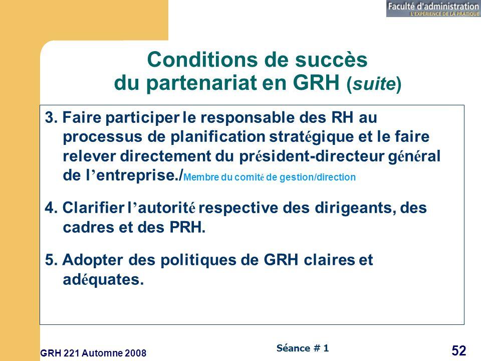 GRH 221 Automne 2008 52 Séance # 1 Conditions de succès du partenariat en GRH (suite) 3.