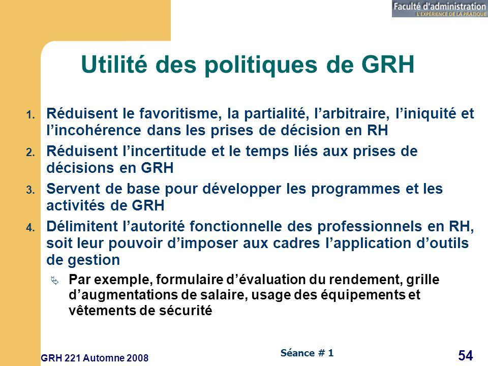 GRH 221 Automne 2008 54 Séance # 1 Utilité des politiques de GRH 1.