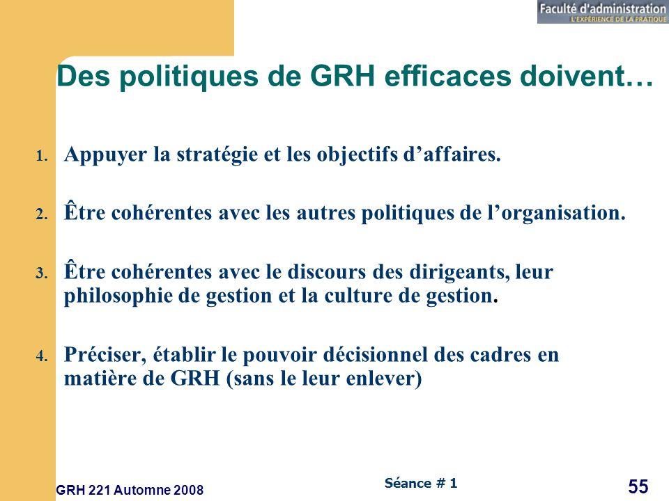 GRH 221 Automne 2008 55 Séance # 1 Des politiques de GRH efficaces doivent… 1.