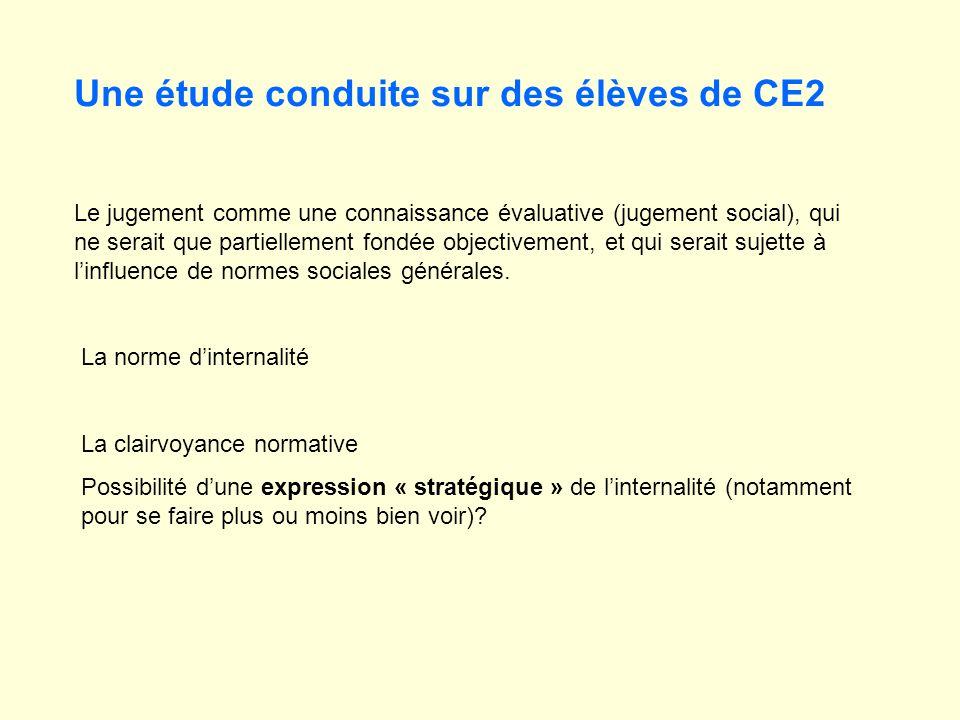 Une étude conduite sur des élèves de CE2 Le jugement comme une connaissance évaluative (jugement social), qui ne serait que partiellement fondée objec
