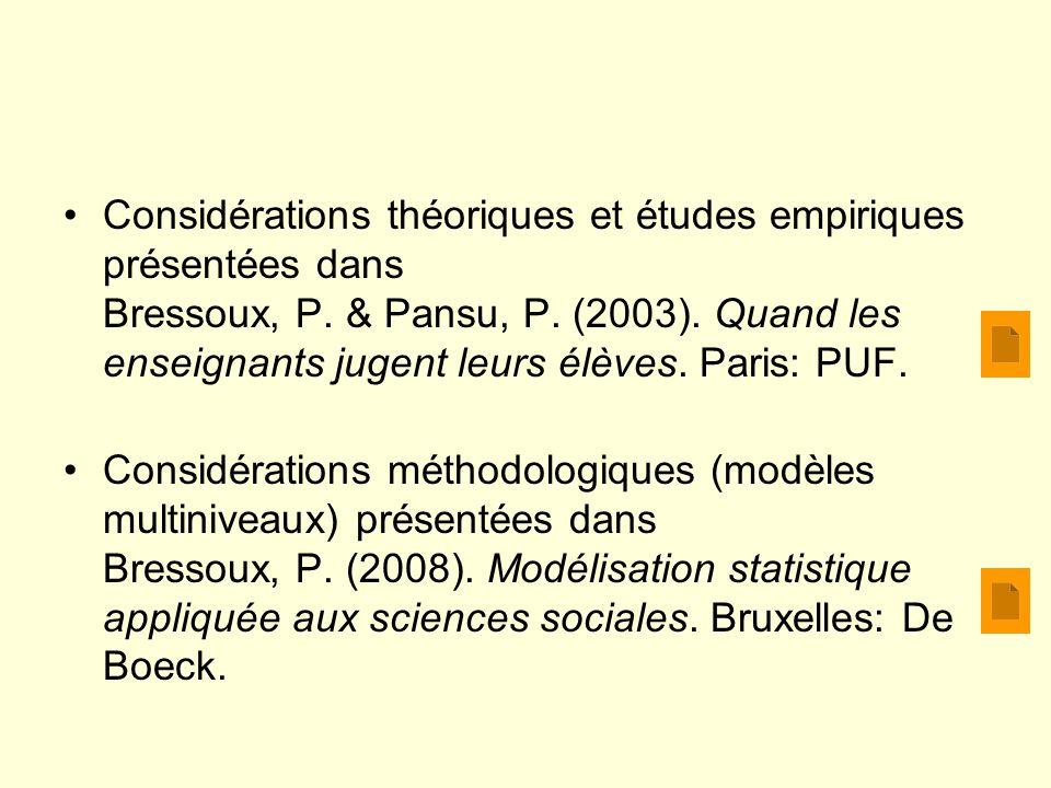 Considérations théoriques et études empiriques présentées dans Bressoux, P. & Pansu, P. (2003). Quand les enseignants jugent leurs élèves. Paris: PUF.