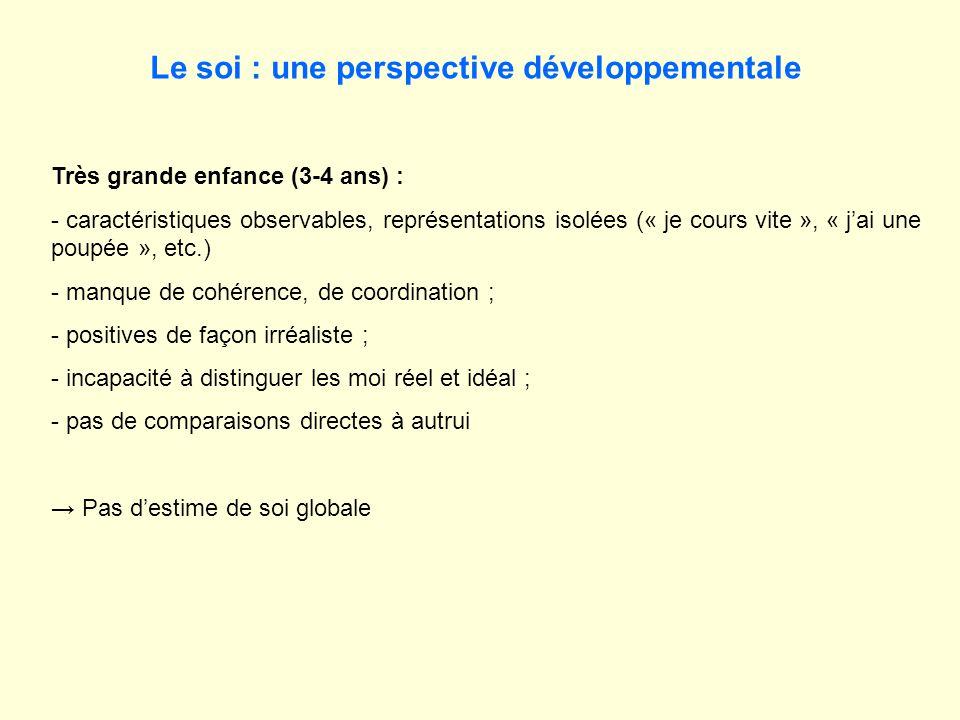 Le soi : une perspective développementale Très grande enfance (3-4 ans) : - caractéristiques observables, représentations isolées (« je cours vite »,