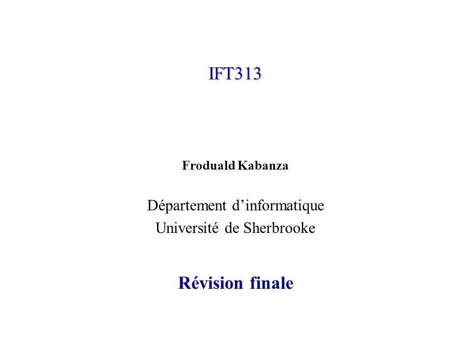 IFT313© Froduald Kabanza22 Analyse LR(0) Analyse SLR(1) Pouvoir définir et simuler lalgorithme danalyse LR (Driver LR) Pouvoir générer une table danalyse SLR(1) pour une grammaire donnée.