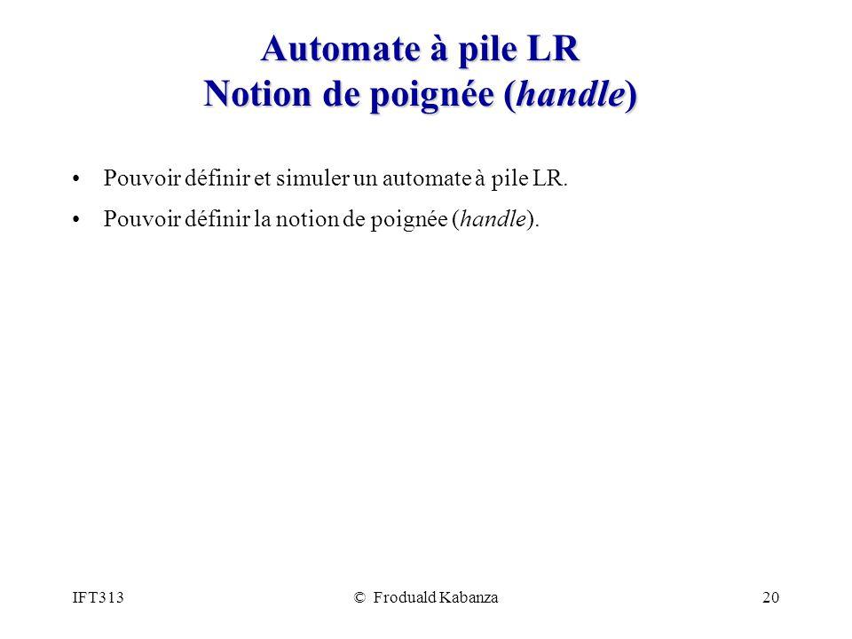 IFT313© Froduald Kabanza20 Automate à pile LR Notion de poignée (handle) Pouvoir définir et simuler un automate à pile LR. Pouvoir définir la notion d