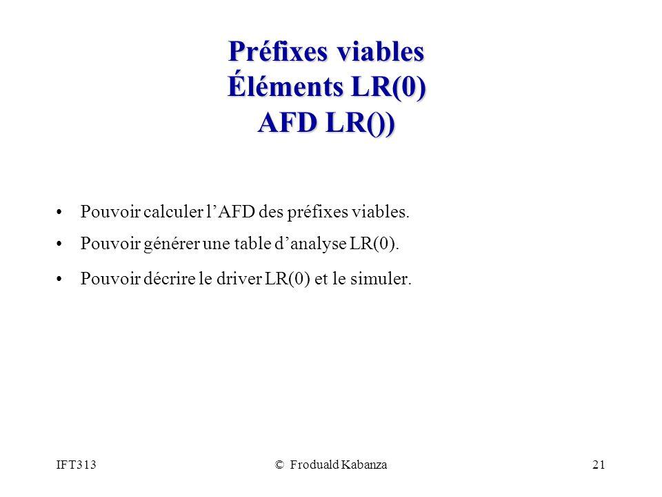 IFT313© Froduald Kabanza21 Préfixes viables Éléments LR(0) AFD LR()) Pouvoir calculer lAFD des préfixes viables. Pouvoir générer une table danalyse LR