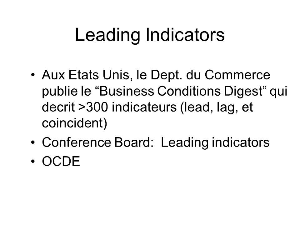Leading Indicators Aux Etats Unis, le Dept. du Commerce publie le Business Conditions Digest qui decrit >300 indicateurs (lead, lag, et coincident) Co