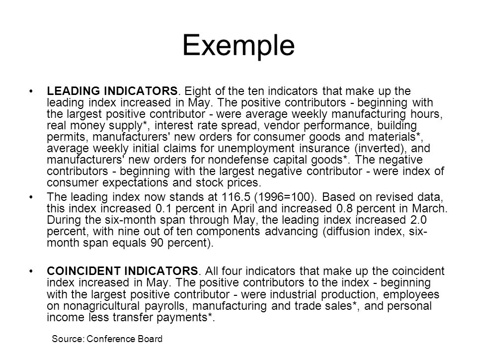 Exemple LEADING INDICATORS. Eight of the ten indicators that make up the leading index increased in May. The positive contributors - beginning with th