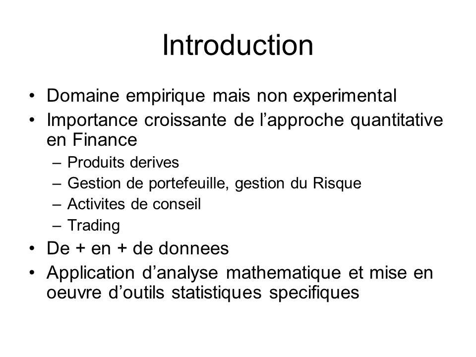 Domaine empirique mais non experimental Importance croissante de lapproche quantitative en Finance –Produits derives –Gestion de portefeuille, gestion