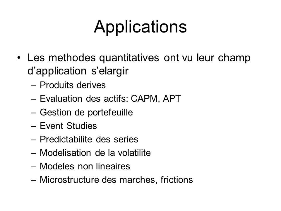Applications Les methodes quantitatives ont vu leur champ dapplication selargir –Produits derives –Evaluation des actifs: CAPM, APT –Gestion de portef