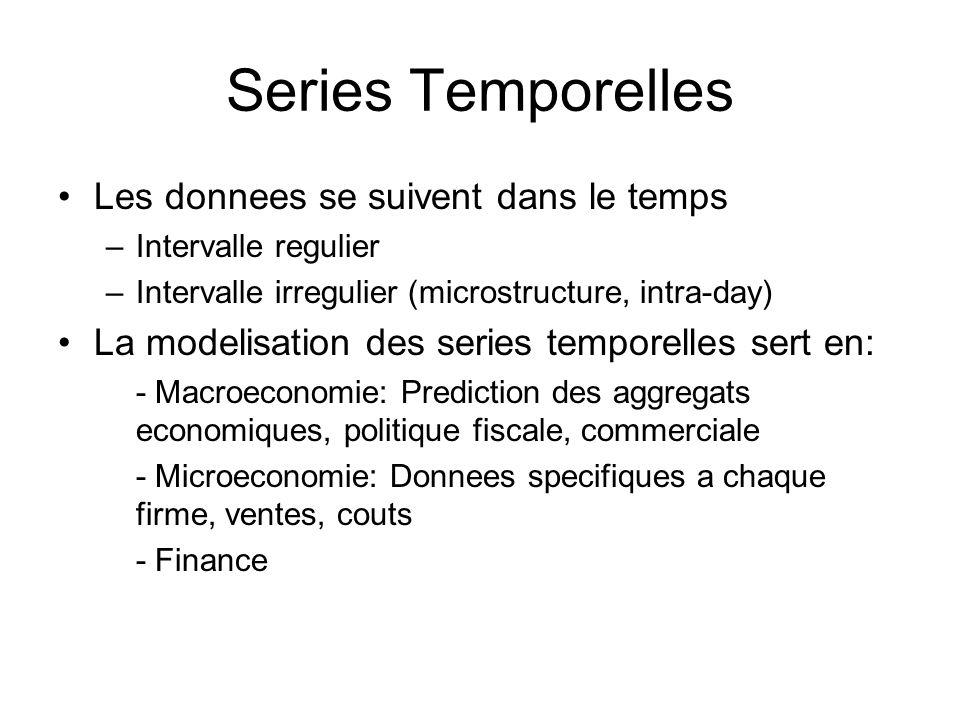 Series Temporelles Les donnees se suivent dans le temps –Intervalle regulier –Intervalle irregulier (microstructure, intra-day) La modelisation des se