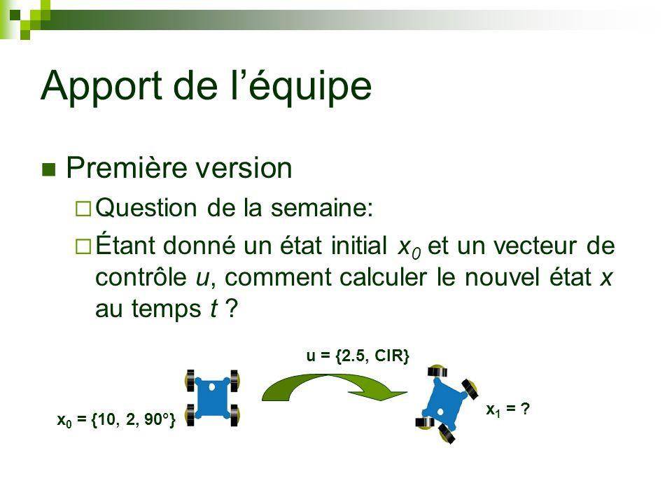 Apport de léquipe Première version Question de la semaine: Étant donné un état initial x 0 et un vecteur de contrôle u, comment calculer le nouvel état x au temps t .