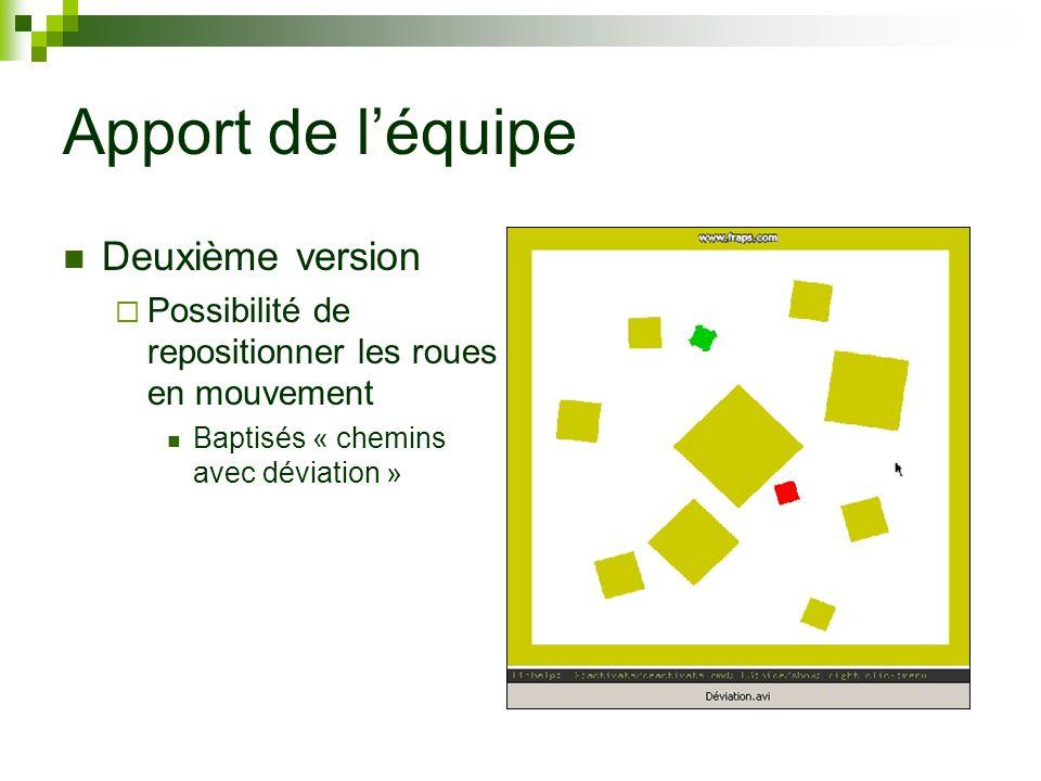 Apport de léquipe Deuxième version Possibilité de repositionner les roues en mouvement Baptisés « chemins avec déviation »