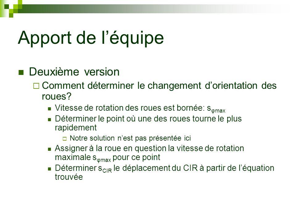 Apport de léquipe Deuxième version Comment déterminer le changement dorientation des roues.
