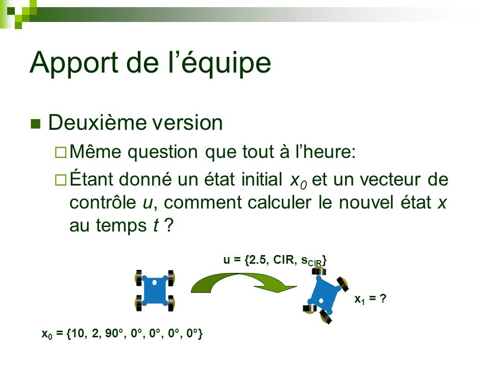 Apport de léquipe Deuxième version Même question que tout à lheure: Étant donné un état initial x 0 et un vecteur de contrôle u, comment calculer le nouvel état x au temps t .