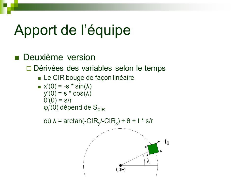 Apport de léquipe Deuxième version Dérivées des variables selon le temps Le CIR bouge de façon linéaire x (0) = -s * sin(λ) y (0) = s * cos(λ) θ (0) = s/r φ i (0) dépend de S CIR où λ = arctan(-CIR y /-CIR x ) + θ + t * s/r