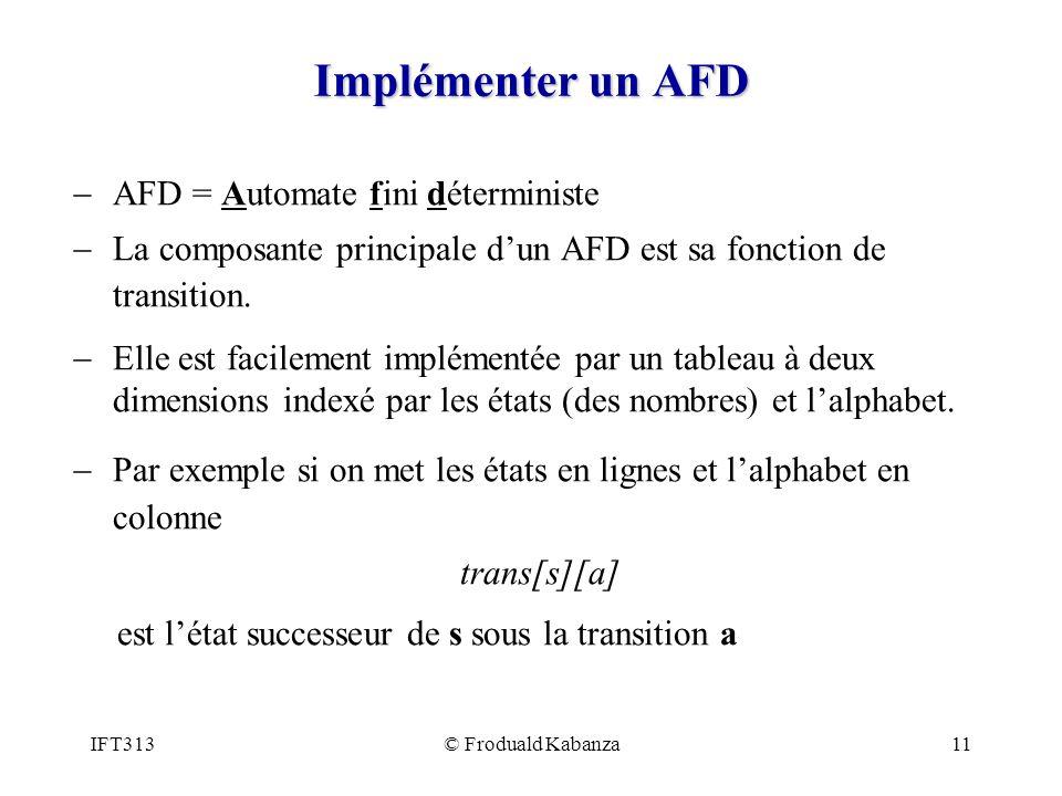 IFT313© Froduald Kabanza11 Implémenter un AFD AFD = Automate fini déterministe La composante principale dun AFD est sa fonction de transition. Elle es