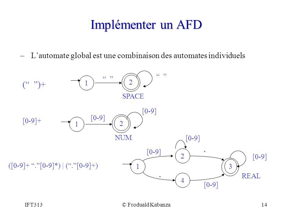 IFT313© Froduald Kabanza14 Implémenter un AFD Lautomate global est une combinaison des automates individuels 2 1 SPACE ( )+ 2 1 NUM [0-9] [0-9]+ 1 3 4