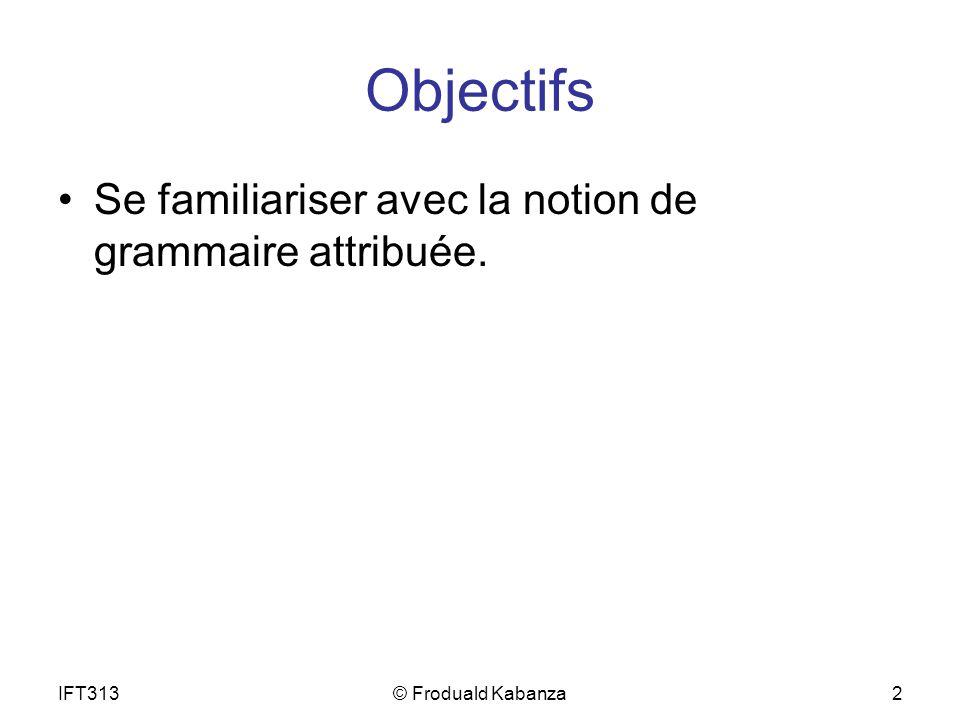 IFT313© Froduald Kabanza2 Objectifs Se familiariser avec la notion de grammaire attribuée.
