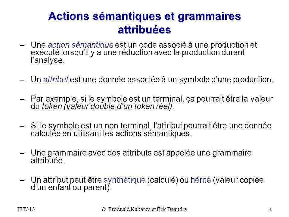 IFT313© Froduald Kabanza et Éric Beaudry4 Actions sémantiques et grammaires attribuées –Une action sémantique est un code associé à une production et exécuté lorsquil y a une réduction avec la production durant lanalyse.