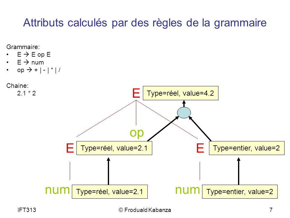 IFT313© Froduald Kabanza8 Attributs dans JavaCC JavaCC ne fait pas que valider la syntaxe.