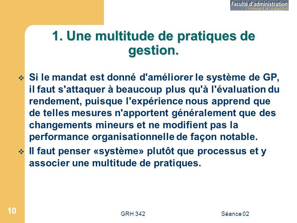 GRH 342Séance 02 10 1.Une multitude de pratiques de gestion.