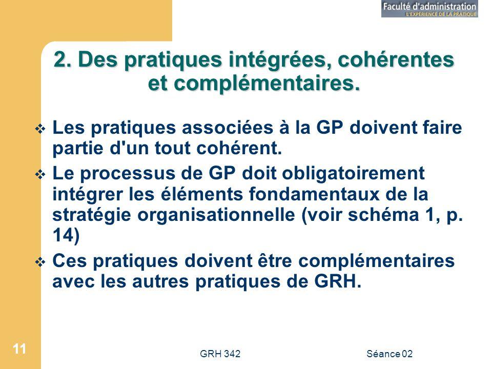 GRH 342Séance 02 11 2.Des pratiques intégrées, cohérentes et complémentaires.
