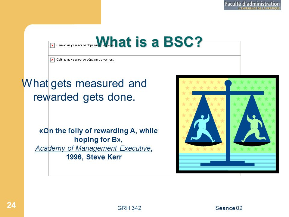 GRH 342Séance 02 24 What is a BSC.What gets measured and rewarded gets done.