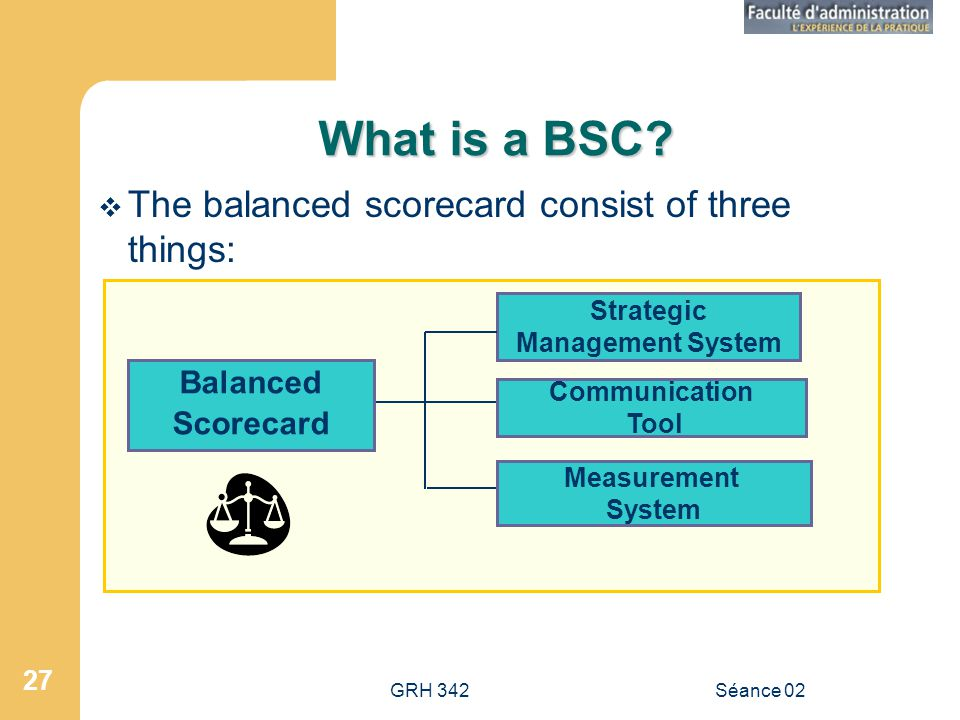 GRH 342Séance 02 27 What is a BSC.
