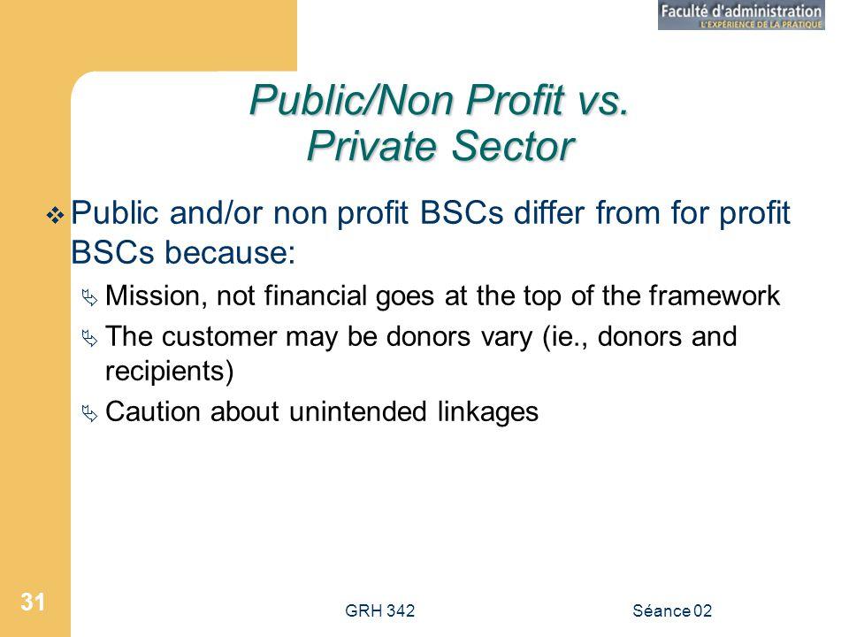 GRH 342Séance 02 31 Public/Non Profit vs.