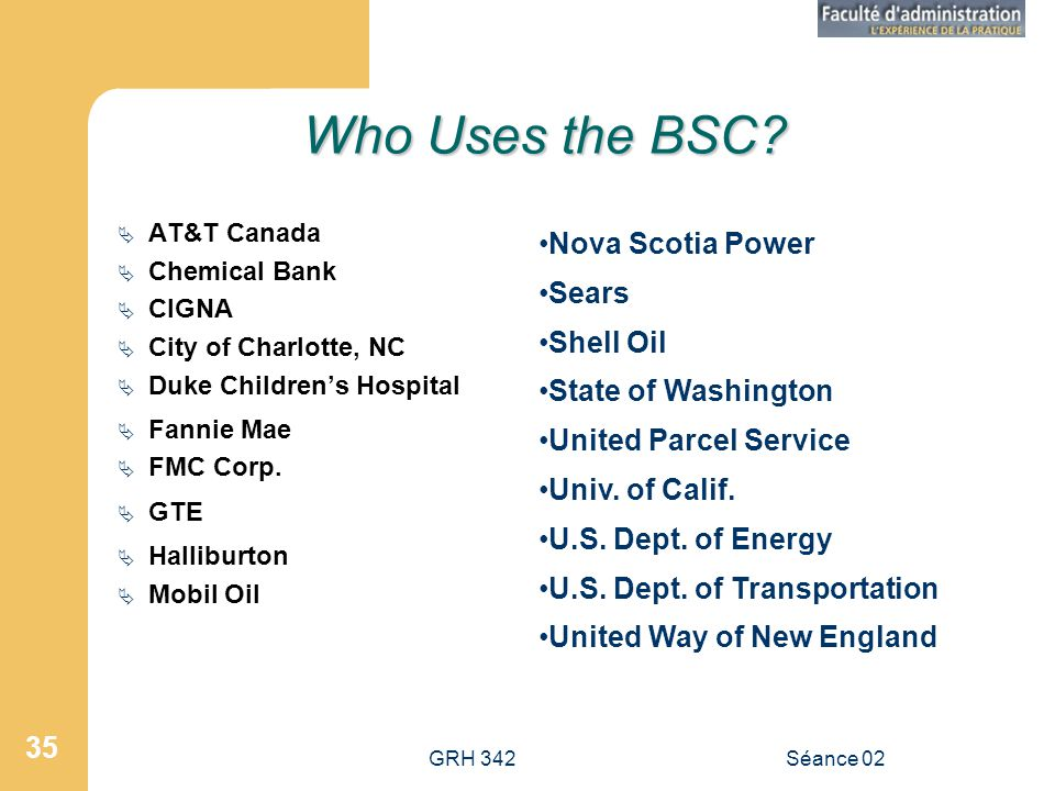 GRH 342Séance 02 35 Who Uses the BSC? AT&T Canada Chemical Bank CIGNA City of Charlotte, NC Duke Childrens Hospital Fannie Mae FMC Corp. GTE Halliburt